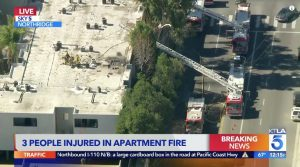 Northridge, CA Apartment Building Fire Leaves Three People Injured.